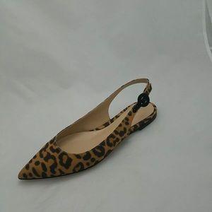 Gianvito Rossi Anna silk leopard sling back flats